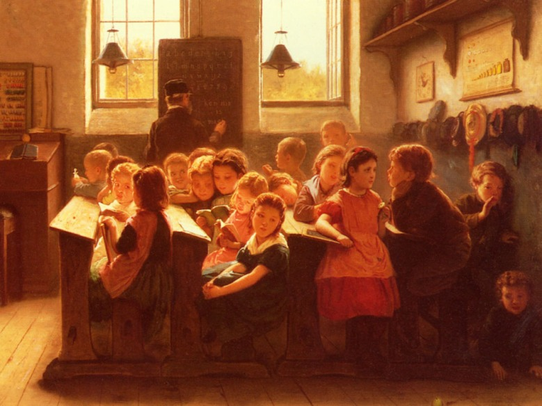 When-Teachers-Back-Is-Turned-Jacob-Taanmann-Oil-Painting